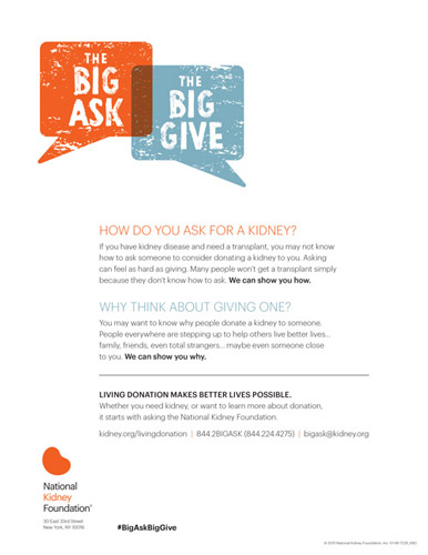 The Big Ask The Big Give National Kidney Foundation