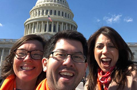 3 kidney health advocates at US Capitol