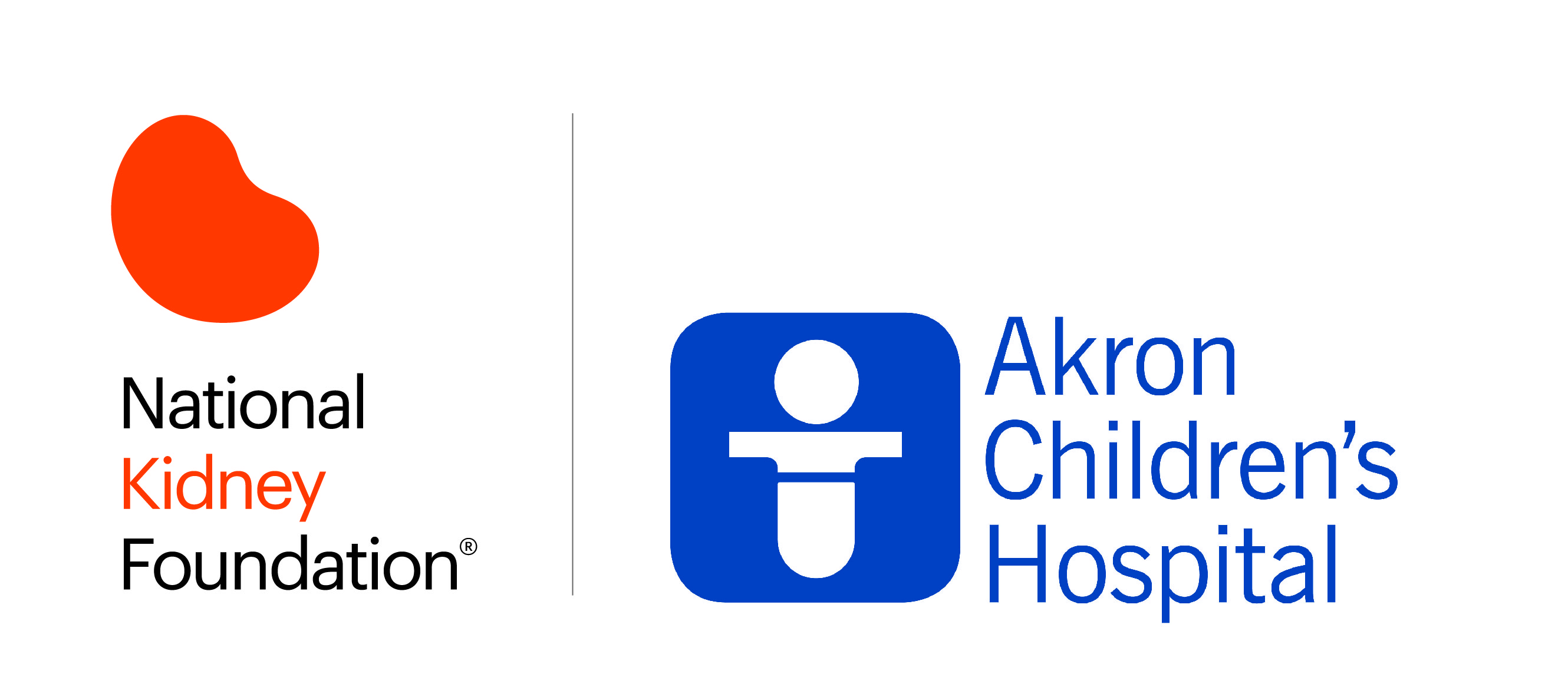 NKF logo beside the logo for Akron Children's Hospital
