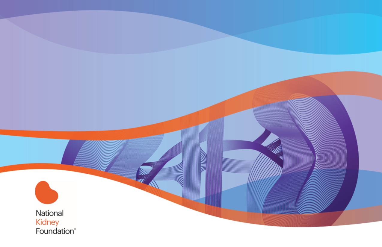 An abstract wave and the National Kidney Foundation logo