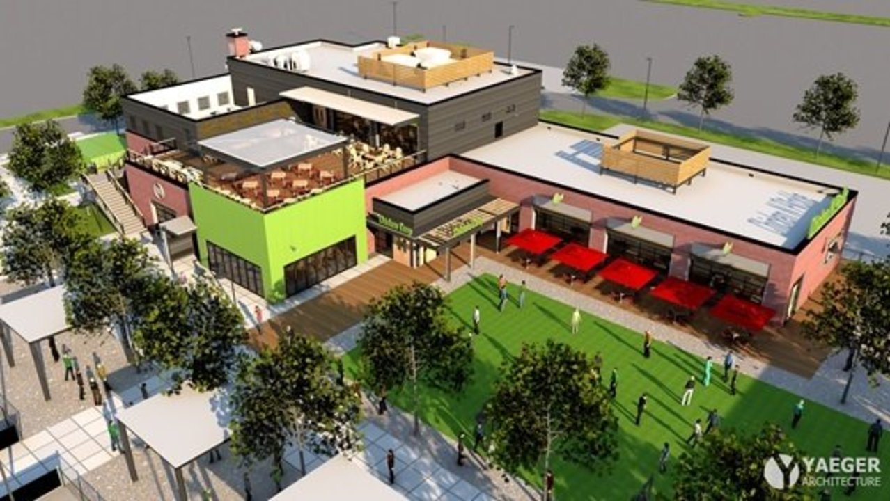 an architect's rendering of the Chicken N Pickle restaurant