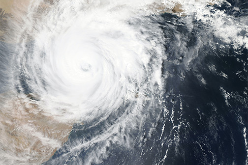 A satellite photo of a hurricane in the Gulf of Mexico