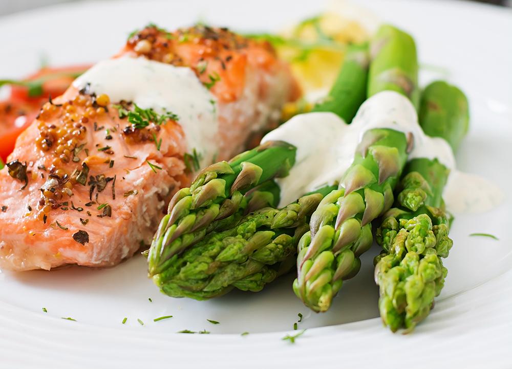 Baked Salmon with Roasted Asparagus on Cracked Wheat Bun