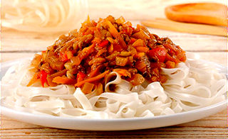 Bolognese with Rice Noodles