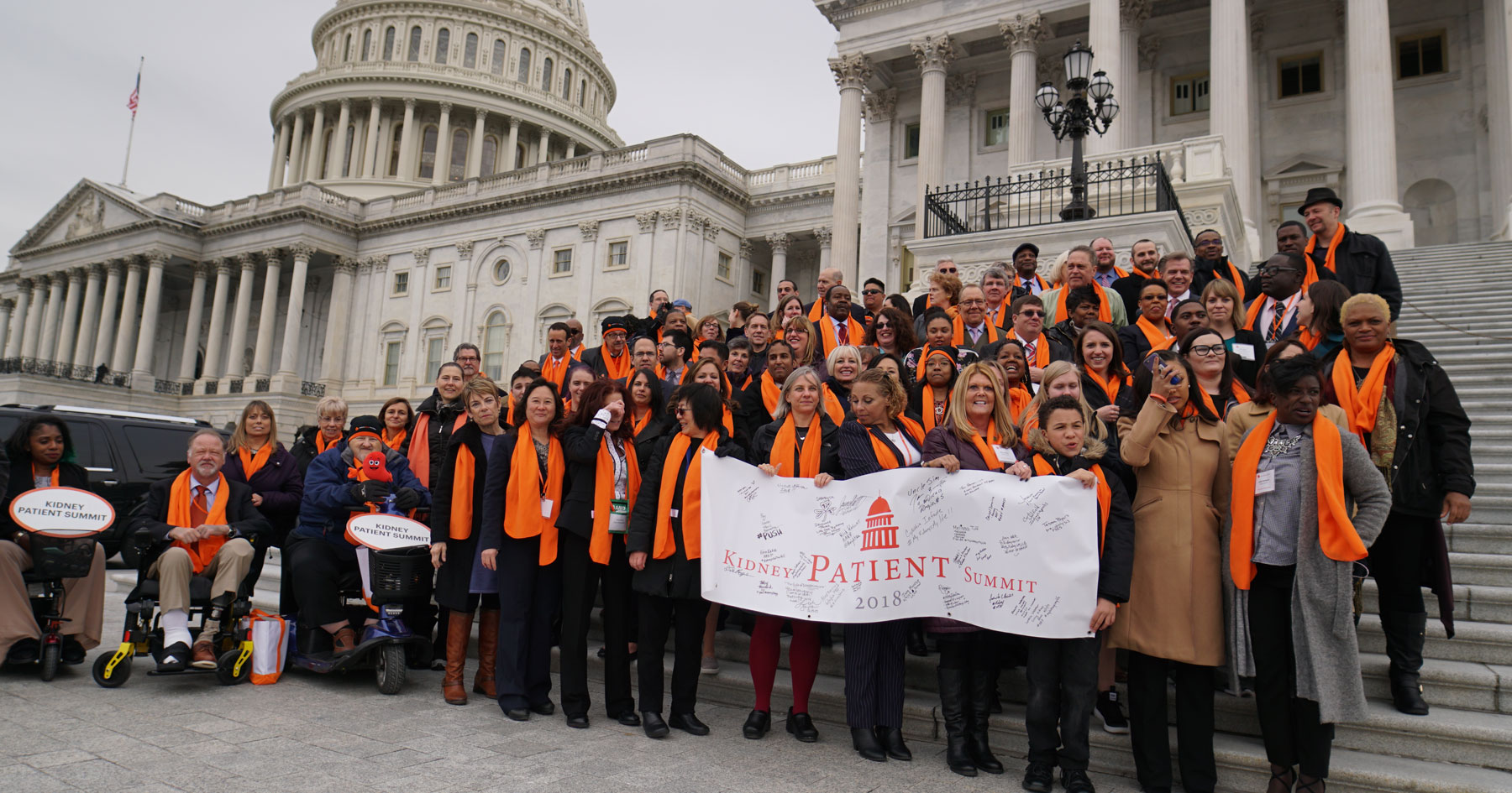 Kidney advocates on the steps of the US Capitol building