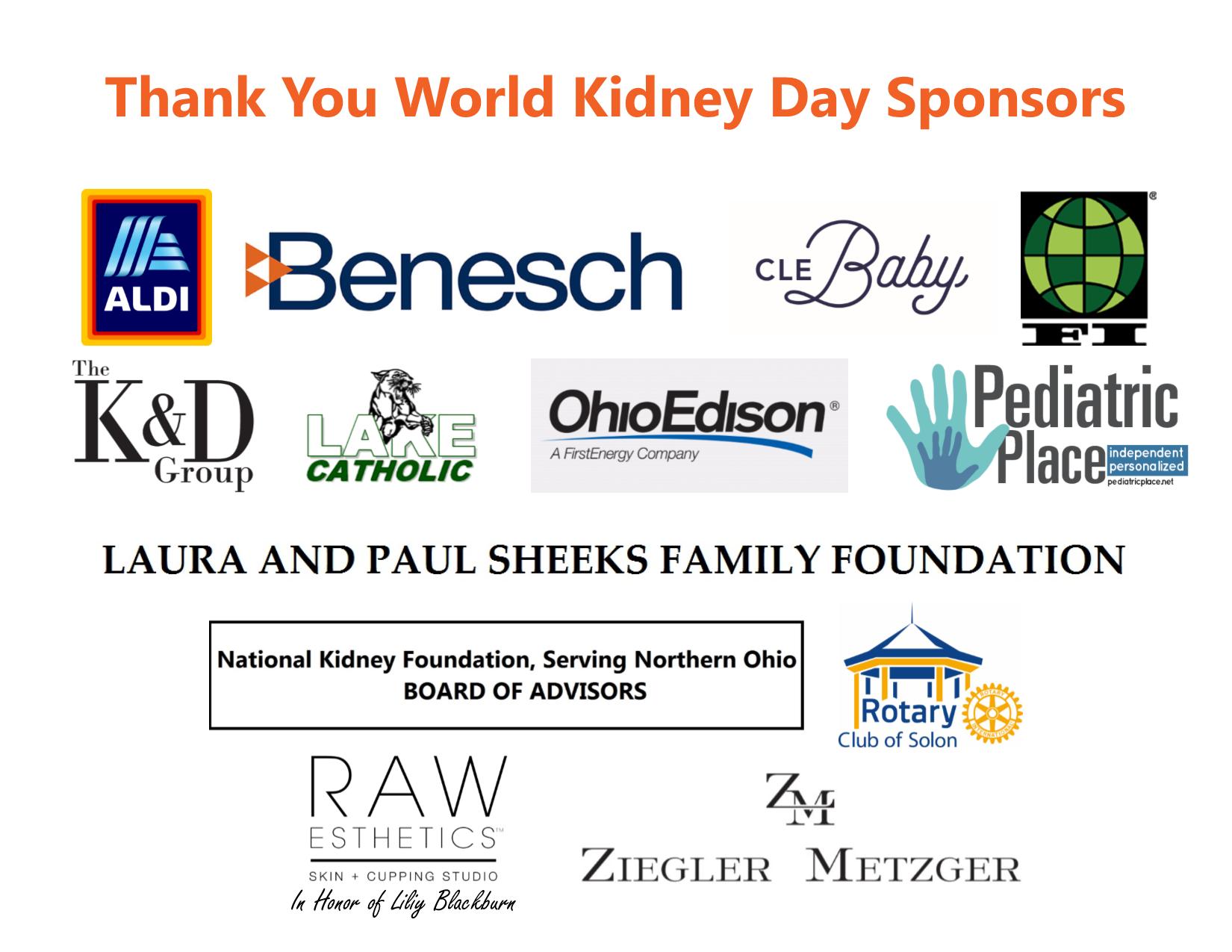 NKF Serving Northern Ohio World Kidney Day Sponsors