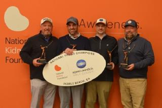 PHOTO CREDIT: Deanna Bucciarelli CAPTION: (Left-Right)  Handicap Index Division winning team, hailing from Richmond, VA, included (from left) Ty Miller, David Martin MD, Kelly O'Bannon and Marlen Vogt, who won at the National Kidney Foundation Konica Mino